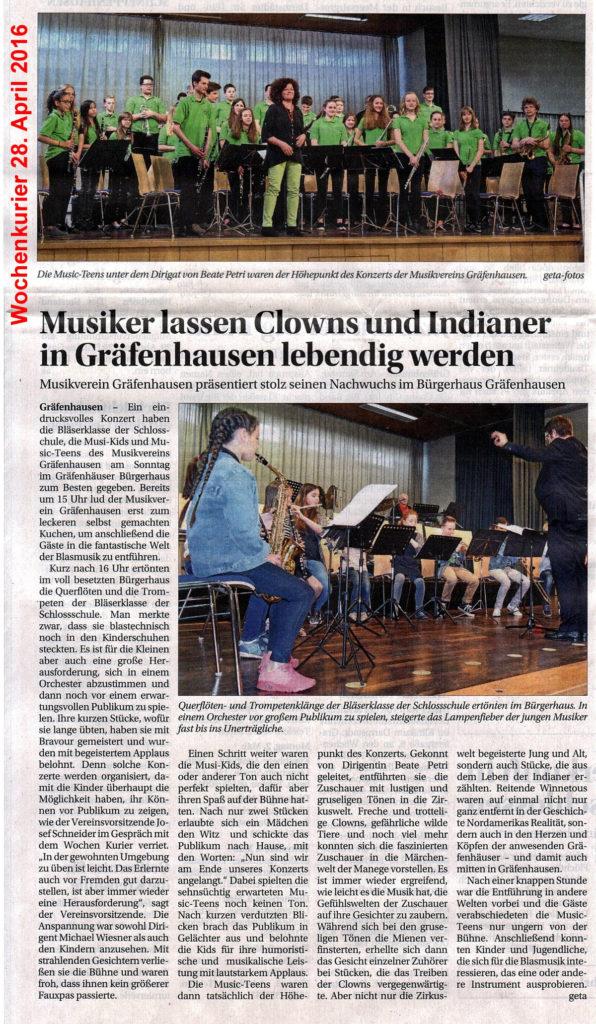 20160428-Wochenkurier-MusikerLassenClownsUndIndianerInGraefenhausenLebendigWerden