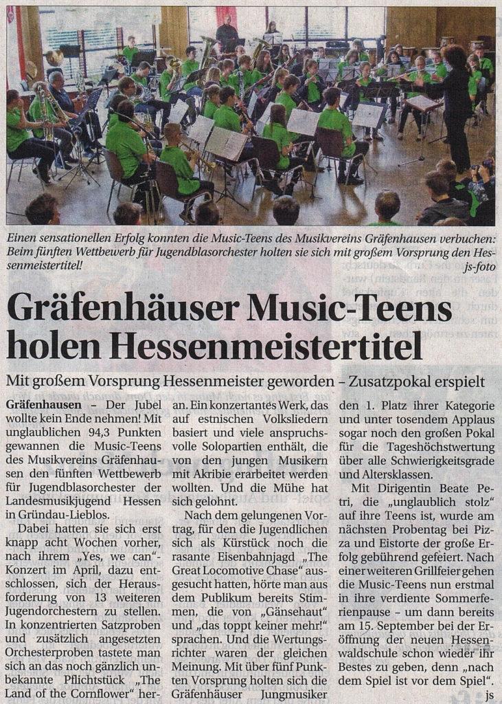 20160707-Wochenkurier-GraefenhaeuserMusicTeensHolenHessenmeistertitel